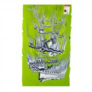 Spring Green Opalescent, White Opalescent, Black Opalescent Graffiti 3+ Color Mix, Double-rolled, 3 mm, Fusible, 17x20 in., Half Sheet