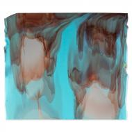 Turquoise Blue, Reactive Ice Clear Transparent Windows 2-Color Mix, Double-rolled, 3 mm, Fusible, 17x20 in., Half Sheet