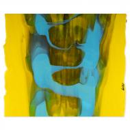 Sunflower Yellow Opalescent, Light Cyan Opalescent Drizzle 2-Color Mix, Double-rolled, 3 mm, Fusible, 17x20 in., Half Sheet