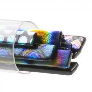 SizzleStix, Black base, Mixed Pattern Dichroic, 6 mm, Fusible, by the Tube