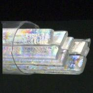 SizzleStix, Clear base, Mixed Pattern Dichroic, 6 mm, Fusible, by the Tube