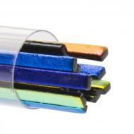 SizzleStix, Black base, Mixed Color Dichroic, 3 mm, Fusible, by the Tube