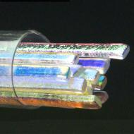 SizzleStix, Clear base, Mixed Color Dichroic, 3 mm, Fusible, by the Tube