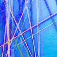 Dichroic on Black Opalescent, Pixie Stix, Mixture, Thin-rolled, 2 mm, Fusible, 3x3 in.