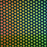 Dichroic on Black Opalescent, Medium Dots, Thin-rolled, 2 mm, Fusible, 3x3 in.
