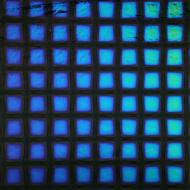 Dichroic on Black Opalescent, Large Squares, Thin-rolled, 2 mm, Fusible, 3x3 in.